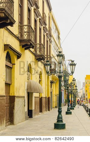 LIMA, PERU, MAY 24, 2014: Old street with lampposts in downtown of Lima