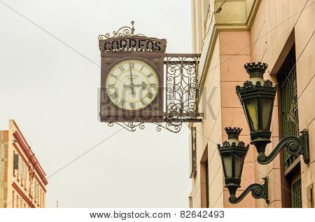 LIMA, PERU, MAY 24, 2014: Old clock in downtown of Lima