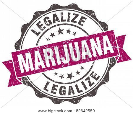 Legalize Marijuana Grunge Violet Seal Isolated On White