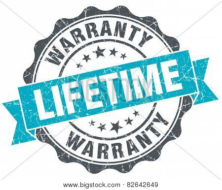 Lifetime Warranty Vintage Turquoise Seal Isolated On White