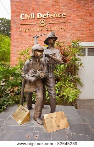 Singapore - 31 Dec 2013: A Statue Outside The Civil Defence Heritage Gallery In Singapore