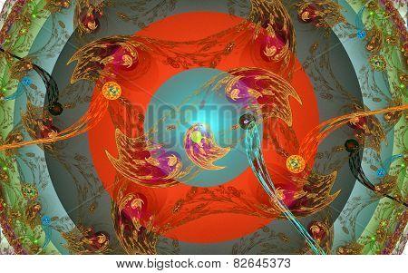 Dance ring. Fractal background