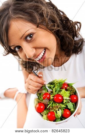 Youg Woman Eating Healthy Salad