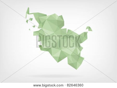 Low Poly map of german region Schleswig-Holstein
