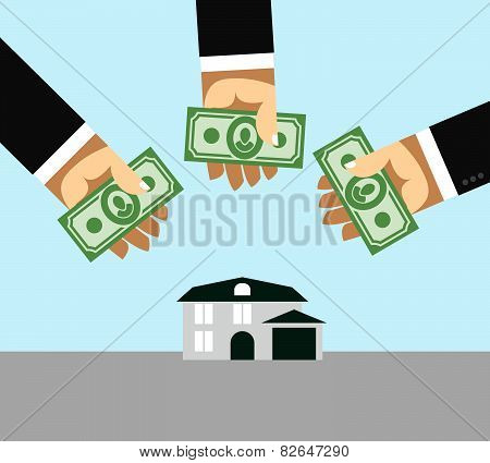 Arms and money. Business illustration