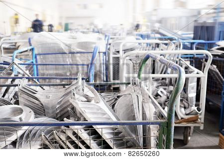 Warehouse of parts at the factory