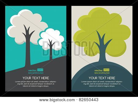 Green Tree Silhouette Illustration. Set Of Vector Nature Organic Background With Place For Text. Nat
