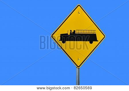 Fire Truck Road Sign