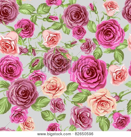 Roses seamless pattern. Beautiful floral background.