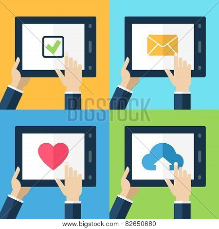 Colorful Flat Touch Interface With Icon Button. Hand Using And Touching Screen. Vector Flat Design C