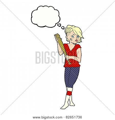 cartoon pretty punk girl with baseball bat with thought bubble