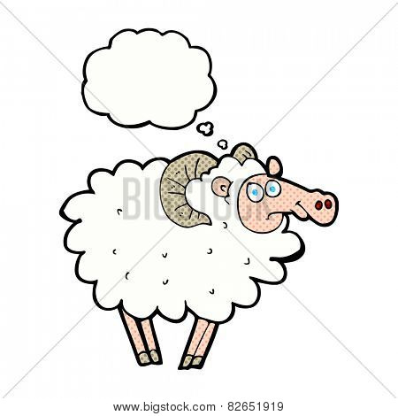 cartoon ram with thought bubble