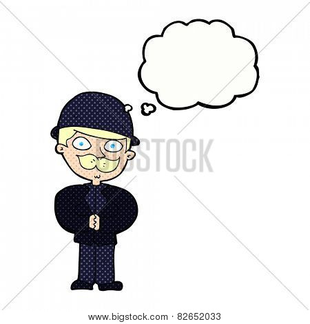 cartoon man in bowler hat with thought bubble