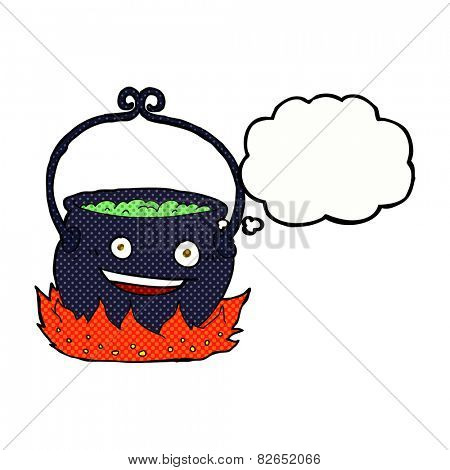 cartoon witch's cauldron with thought bubble
