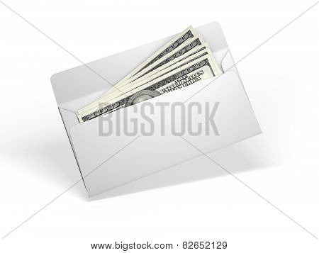 White envelope with money