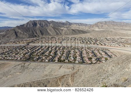 Contemporary desert housing tracts near the Spring Mountains in Las Vegas, Nevada.