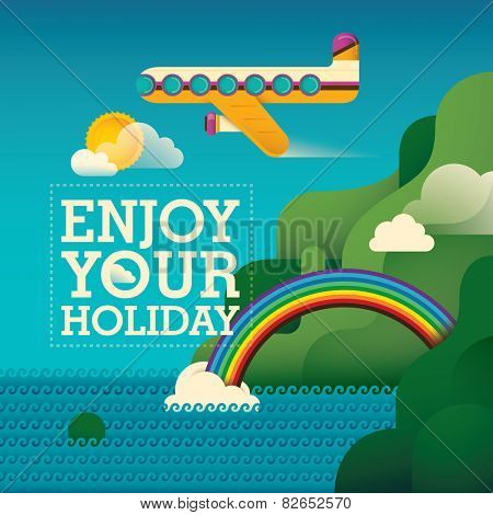 Traveling background with airplane. Vector illustration.