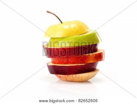 different varieties of apples, cut into slices