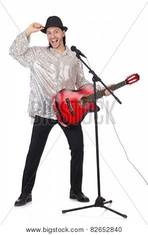 Man playing guitar and singing isolated on white