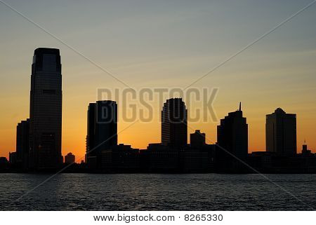 Silhouette of the skyline for Exchange Place in New Jersey