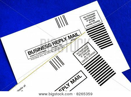 Business reply mails isolated on blue concepts of attracting new business
