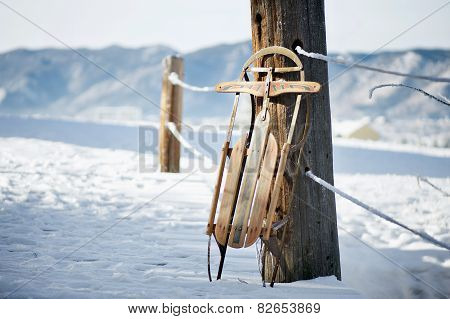 Vintage Sled in Snow Scene