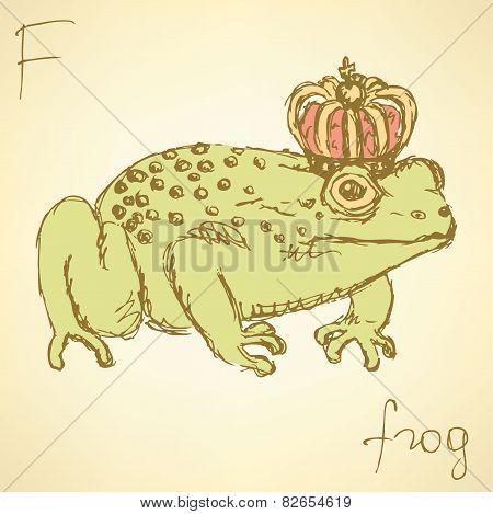 Sketch Fancy Frog In Vintage Style