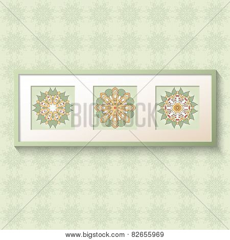 3D Picture Frame Design With Floral Ornaments.