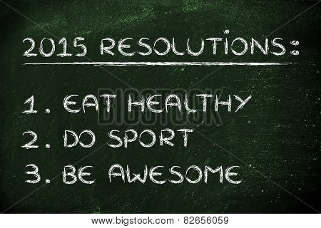 new year's fitness resolutions: gym, healthy fod, be awesome