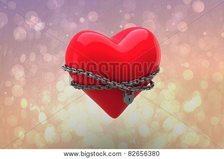 Locked heart against pink abstract light spot design