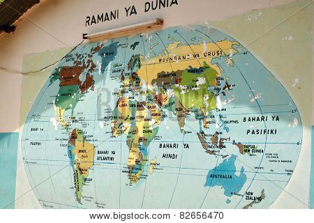 Map Of The World In Swahili