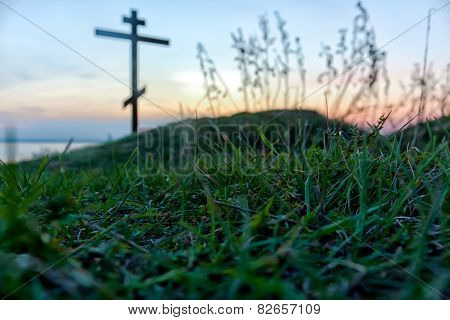cross and grass