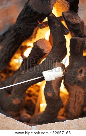Marshmallows roasting over open fire