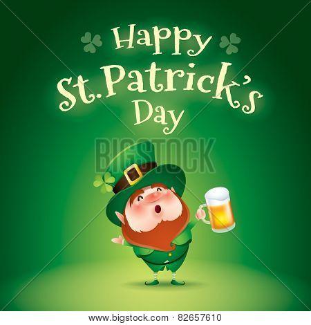 Happy Saint Patrick�¢�?�?s Day. Leprechaun in green background.