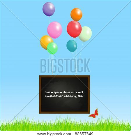 Blackboard Flying With Balloons On A Spring Background
