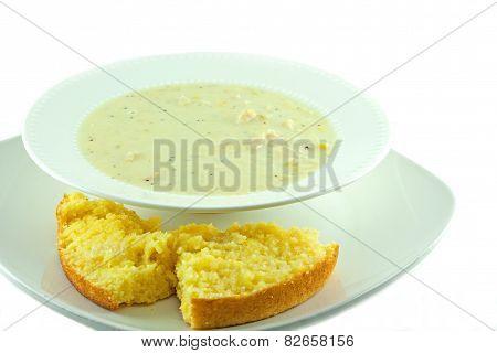 Homemade Chicken Corn Chowder With Corn Bread