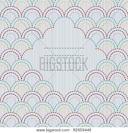 Text frame. Traditional Japanese Embroidery Ornament with stylized fish scales. Vector seamless patt