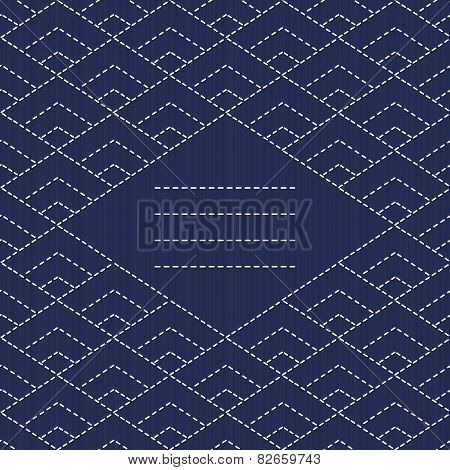 Text frame. Traditional Japanese Embroidery Ornament with rhombs. Vector seamless pattern.