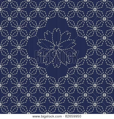 Traditional Japanese Embroidery Ornament with rhombs and sakura flower. Sashiko.