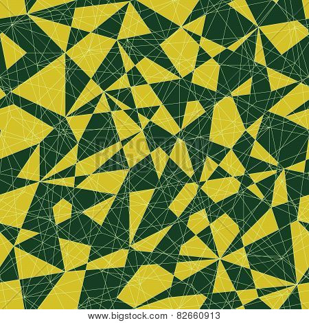 Abstract mosaic pattern with triangles. Seamless vector. Green colors.