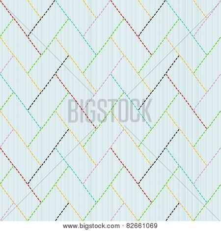 Traditional Japanese Embroidery Ornament with colorful weaving. Sashiko. Seamless vector.