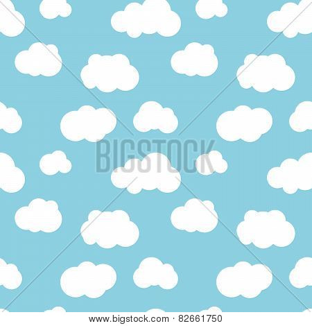 Different flat clouds on blue sky seamless pattern