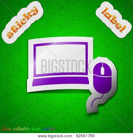 Computer Widescreen Monitor, Mouse Icon Sign. Symbol Chic Colored Sticky Label On Green Background.