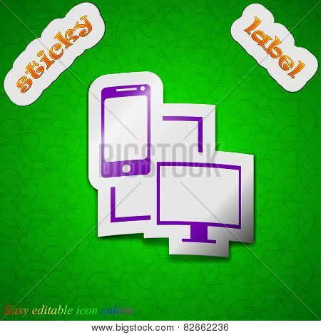 Synchronization Icon Sign. Symbol Chic Colored Sticky Label On Green Background. Vector