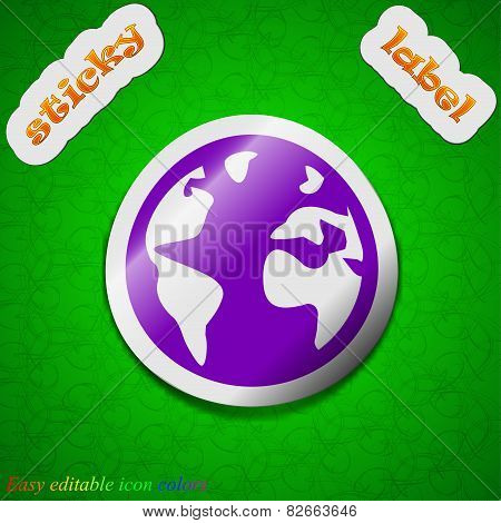 Globe Icon Sign. Symbol Chic Colored Sticky Label On Green Background. Vector