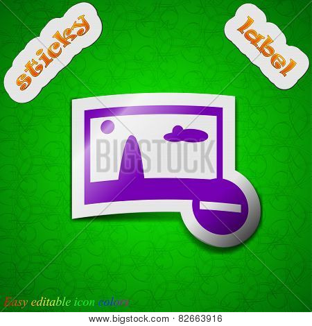 Minus File Jpg Icon Sign. Symbol Chic Colored Sticky Label On Green Background. Vector