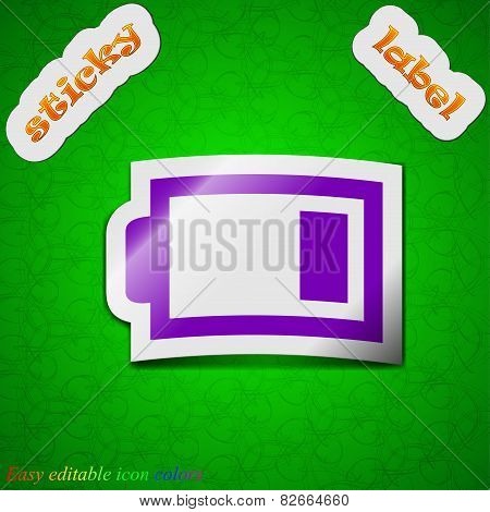 Battery Low Level  Icon Sign. Symbol Chic Colored Sticky Label On Green Background. Vector