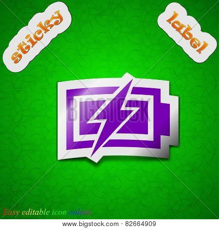 Battery Charging  Icon Sign. Symbol Chic Colored Sticky Label On Green Background. Vector