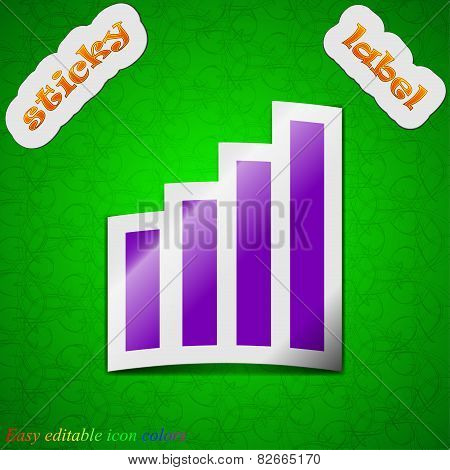 Mobile Signal Icon Sign. Symbol Chic Colored Sticky Label On Green Background. Vector