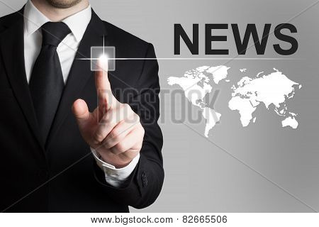 Businessman Pushing Button News Worldmap
